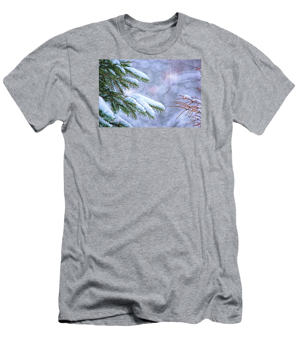 Nature Men's T-Shirt (Athletic Fit) featuring the photograph Winter Wonderland by Sharon McConnell