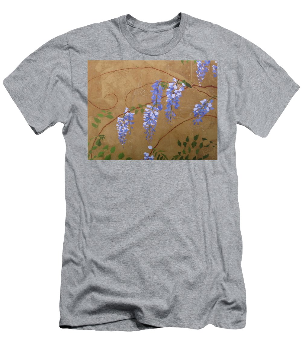 Periwinkle Wisteria Flowers Men's T-Shirt (Slim Fit) featuring the painting Wisteria by Leah Tomaino