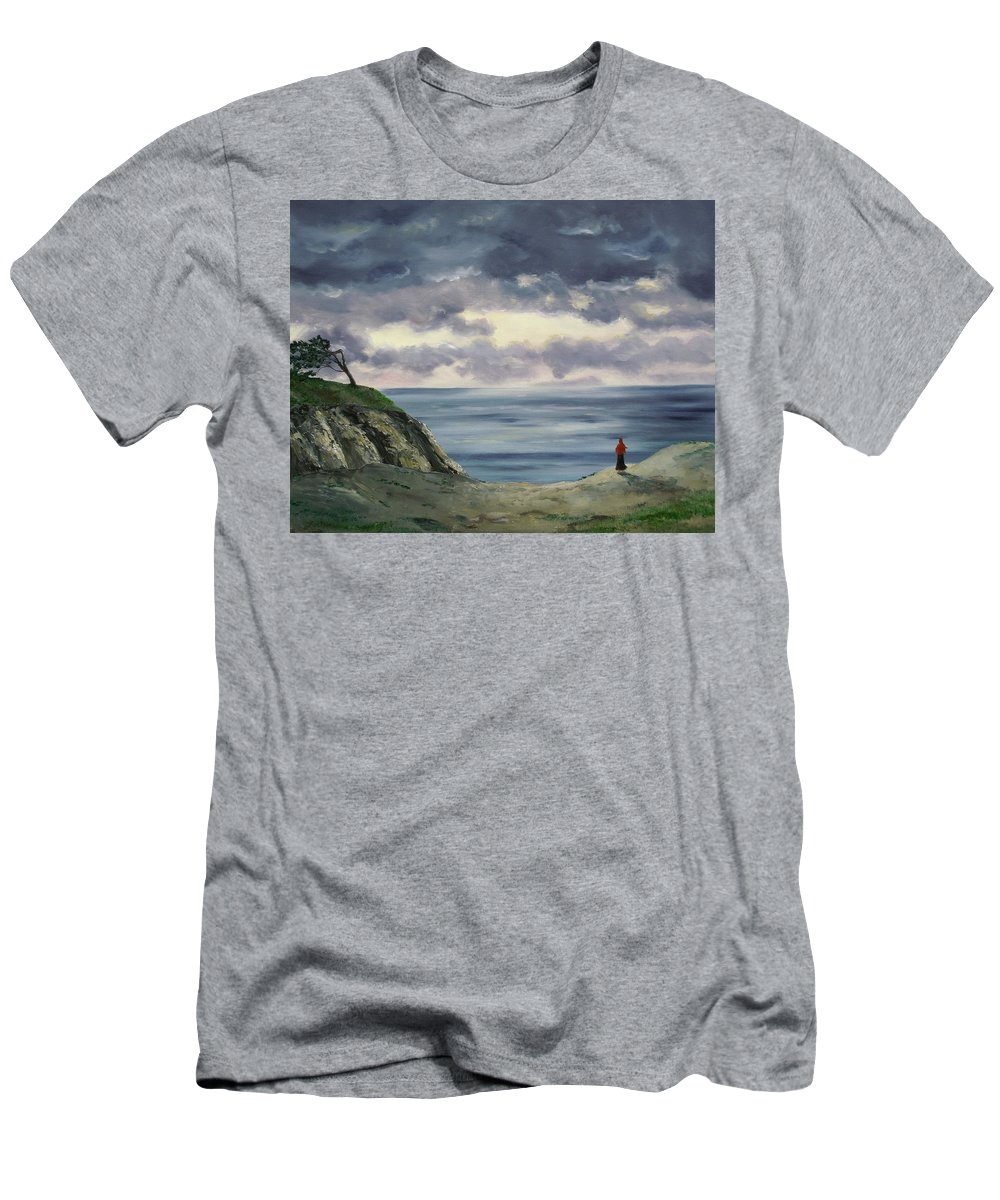 California Men's T-Shirt (Athletic Fit) featuring the painting Woman In A Red Shawl by Laura Iverson