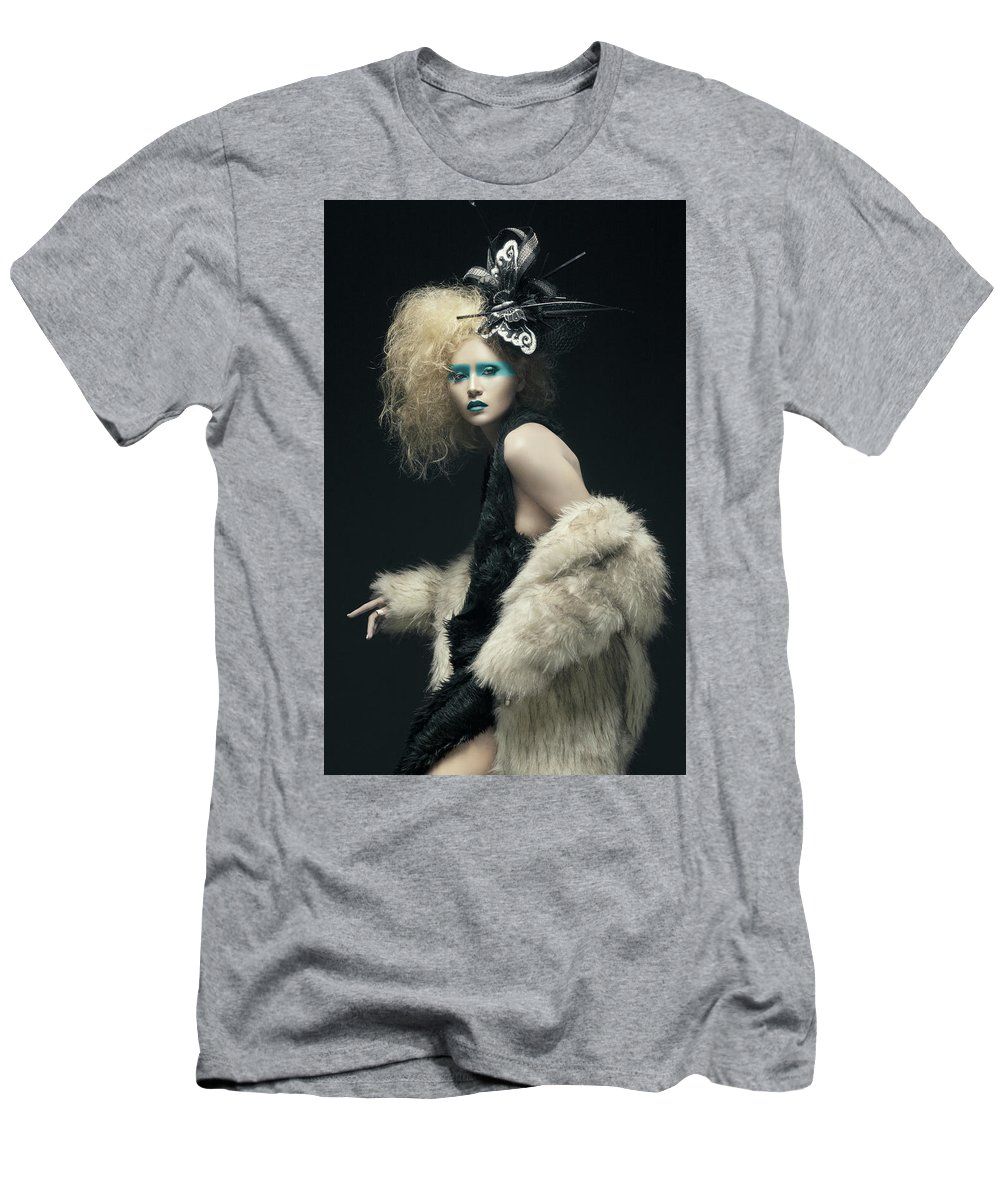 Avant-garde Men's T-Shirt (Athletic Fit) featuring the photograph Woman In Black Avant-garde Attire With Butterfly Headdress by Benedict Salvacion