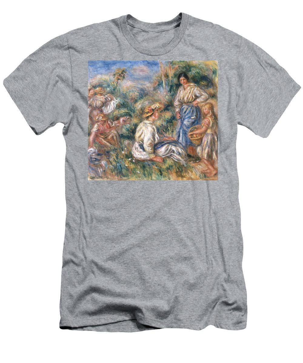 Women Men's T-Shirt (Athletic Fit) featuring the painting Women In A Landscape by Renoir