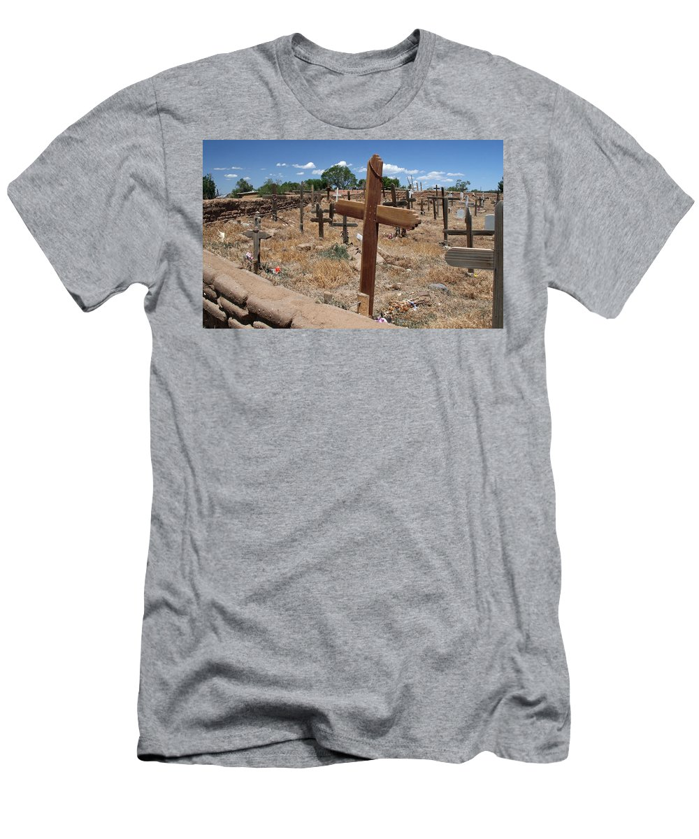 Taos Men's T-Shirt (Athletic Fit) featuring the photograph Wood Crosses In Taos Cemetery by Elizabeth Rose