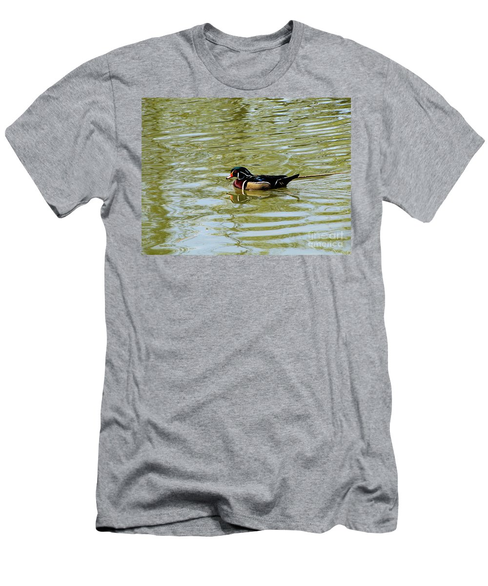 Wood Duck Men's T-Shirt (Athletic Fit) featuring the photograph Wood Duck by September Stone