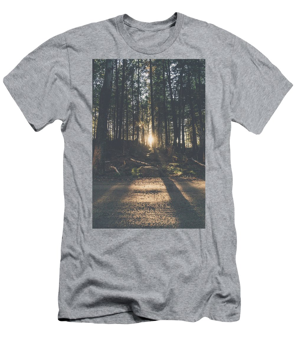 Sunset New Hampshire Woods Photography Fade Film Men's T-Shirt (Athletic Fit) featuring the photograph Woods Sunset by Robert Worth