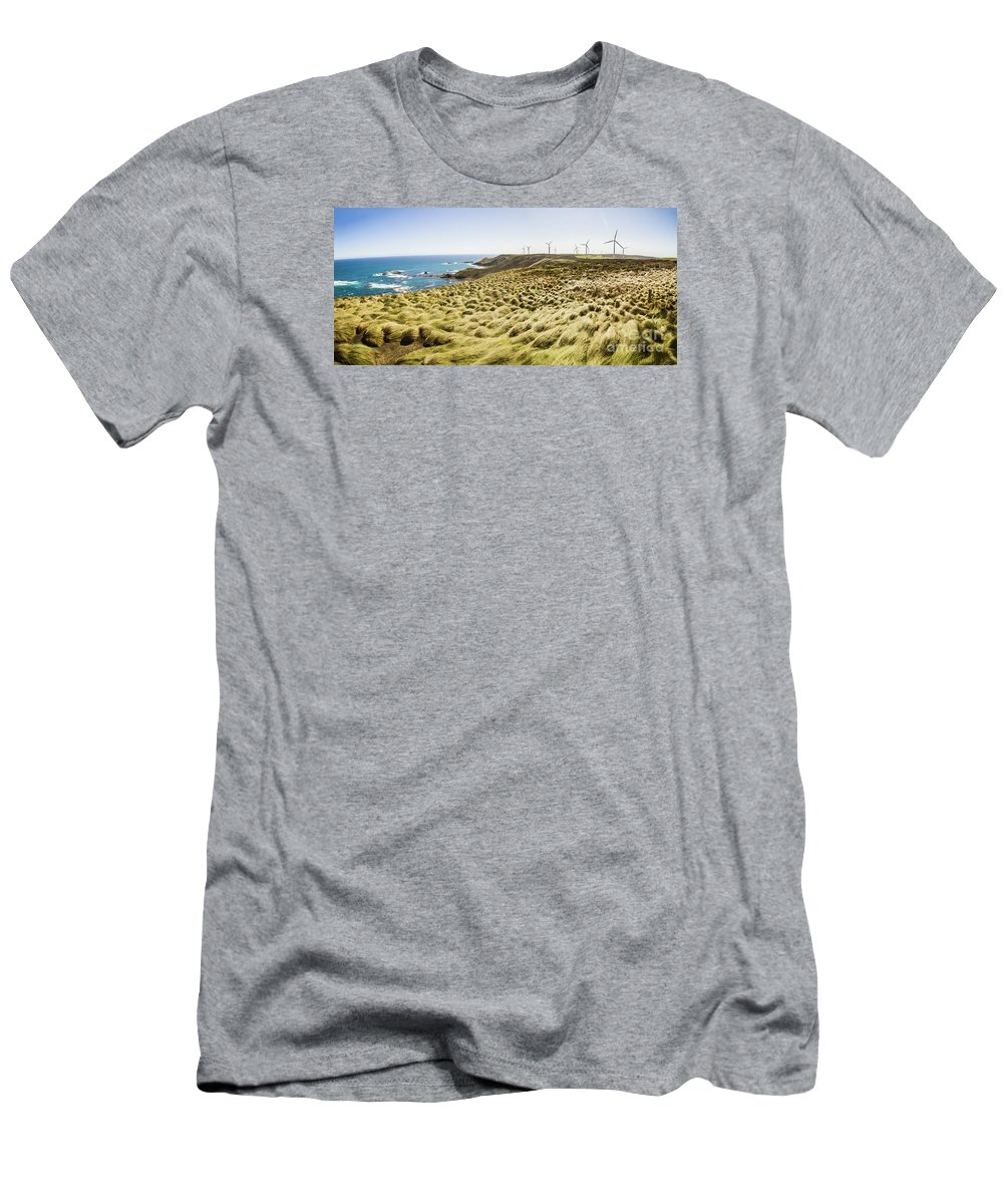 Australia Men's T-Shirt (Athletic Fit) featuring the photograph Woolnorth Wind Farm And Ocean Landscape Tasmania by Jorgo Photography - Wall Art Gallery