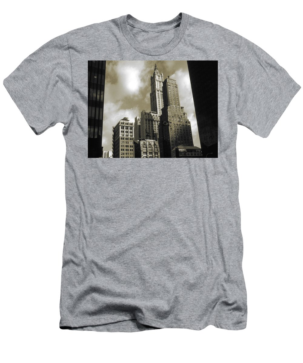 New+york Men's T-Shirt (Athletic Fit) featuring the photograph Old New York Photo - Historic Woolworth Building by Peter Potter
