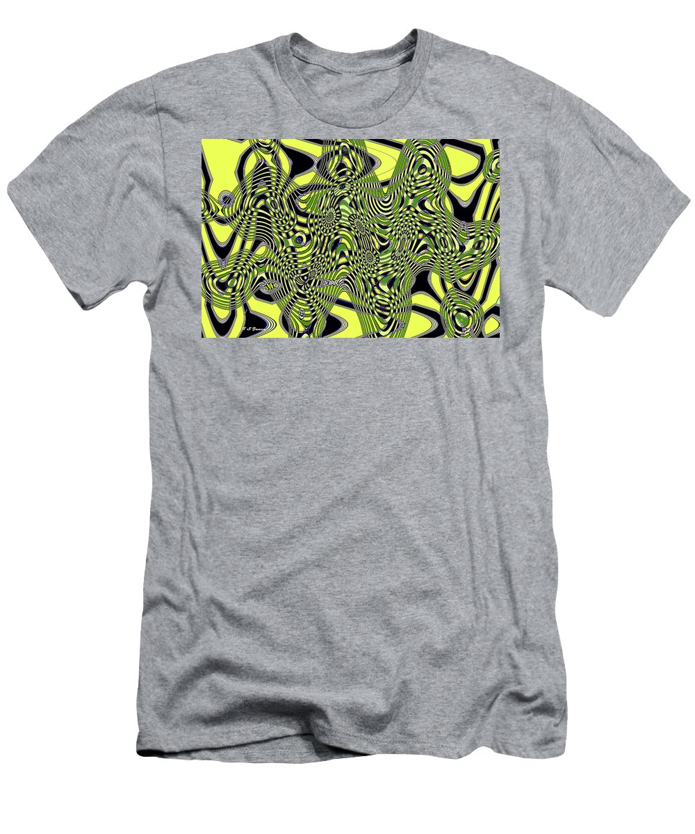 Yellow And Black #3 Abstract Men's T-Shirt (Athletic Fit) featuring the digital art Yellow And Black #3 Abstract by Tom Janca