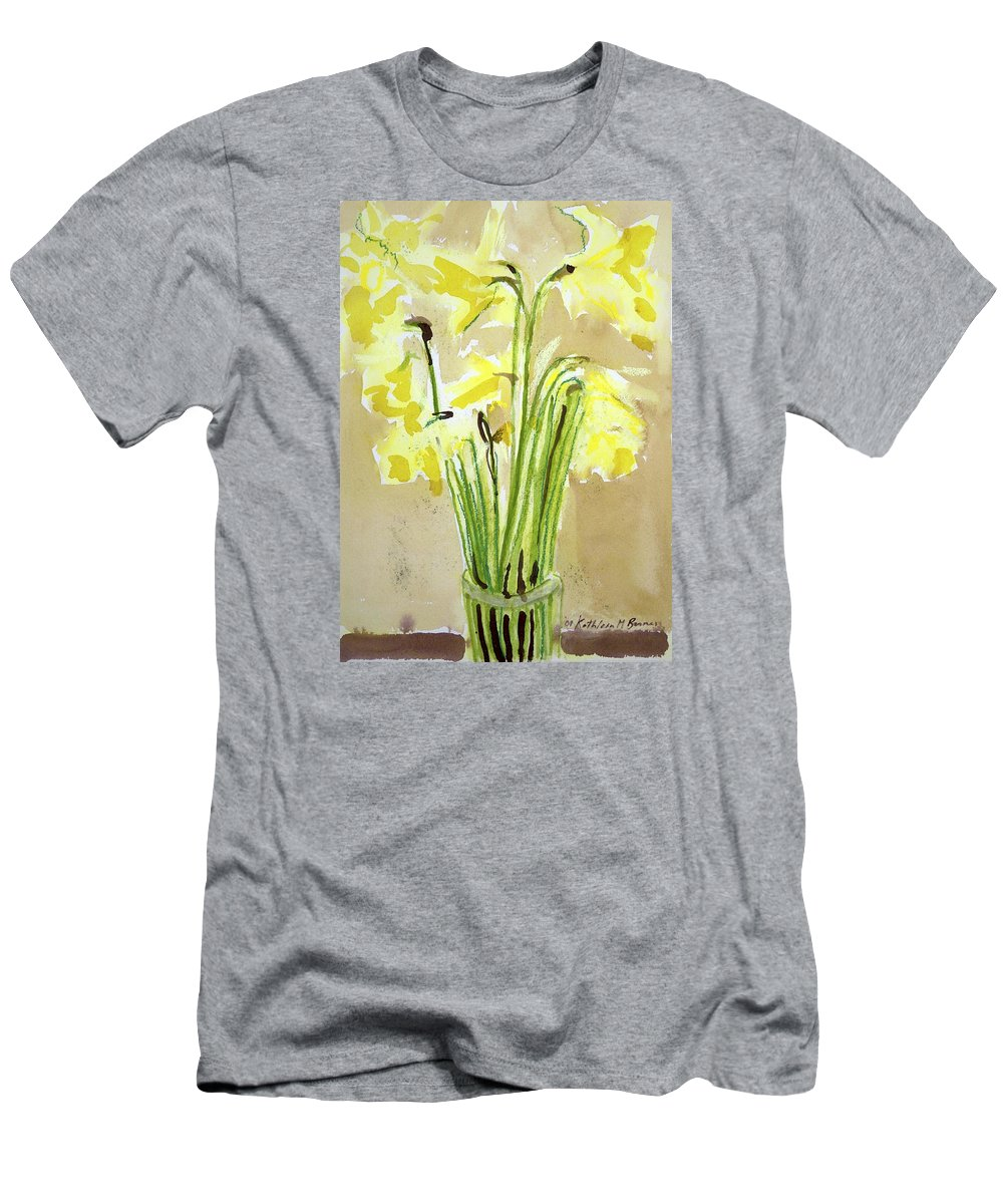 T-Shirt featuring the painting Yellow Flowers In Vase by Kathleen Barnes