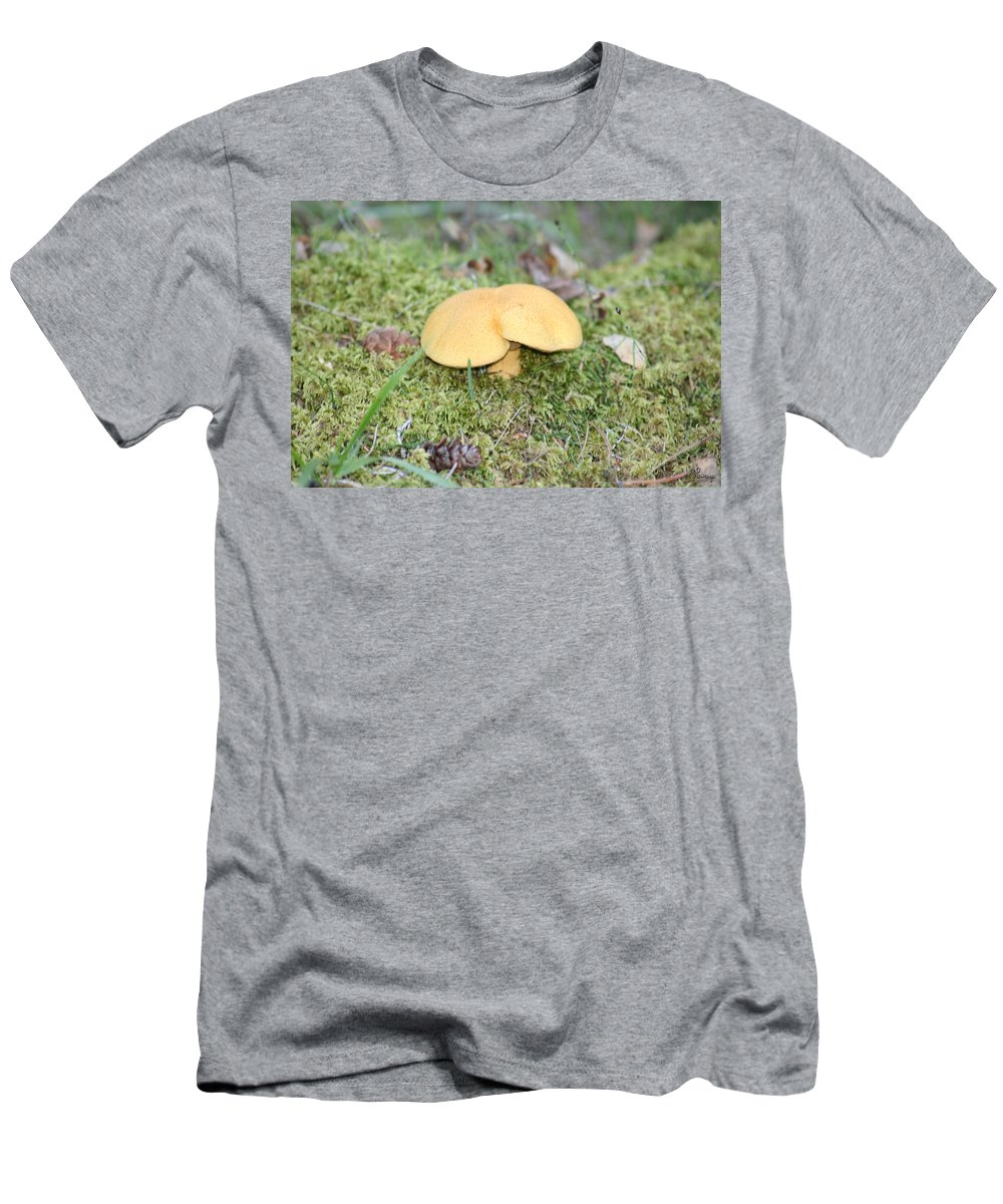 Mushrooms Nature Plants Wild Moss Acorns Forest Men's T-Shirt (Athletic Fit) featuring the photograph Yellow Mushroom by Andrea Lawrence