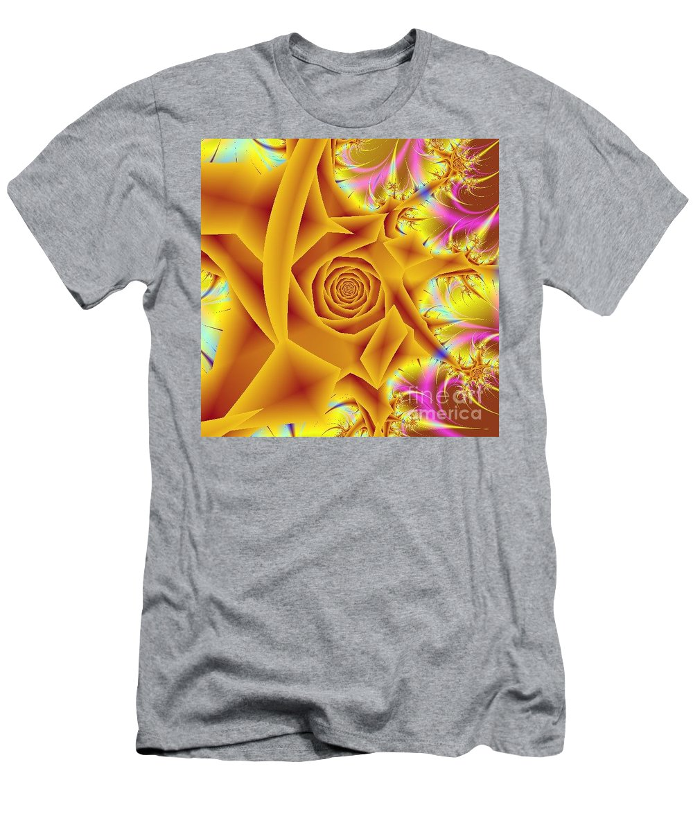Digital Art Men's T-Shirt (Athletic Fit) featuring the digital art Yellow Rose by Dragica Micki Fortuna