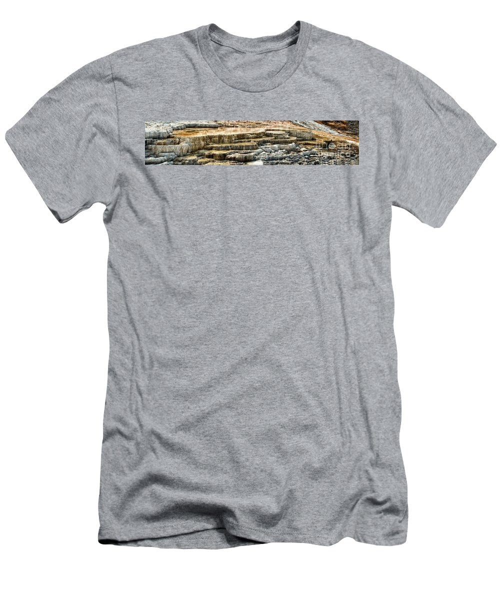 Yellowstone Men's T-Shirt (Athletic Fit) featuring the photograph Yellowstone Rock Formation by Stanton Tubb