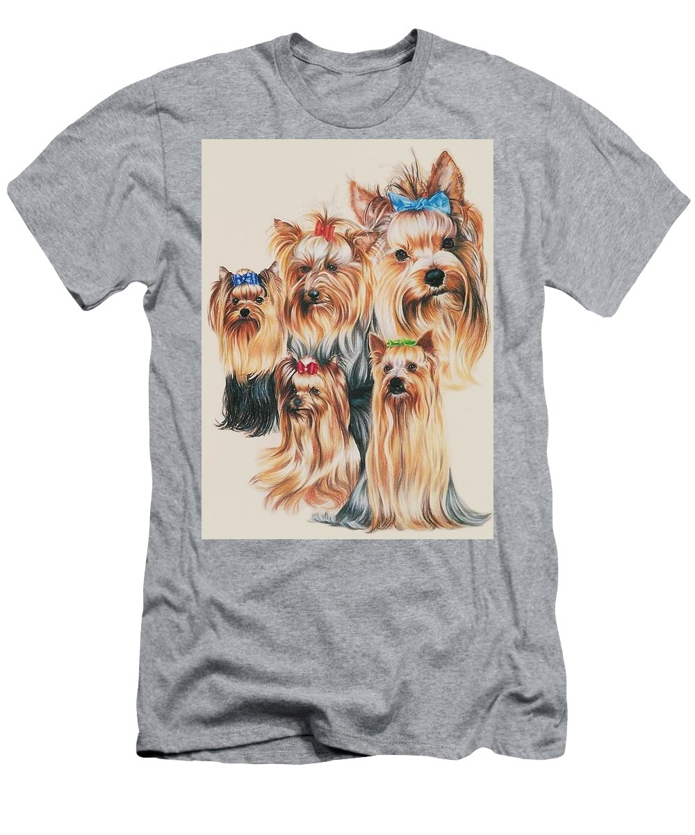 Purebred Men's T-Shirt (Athletic Fit) featuring the drawing Yorkshire Terrier by Barbara Keith