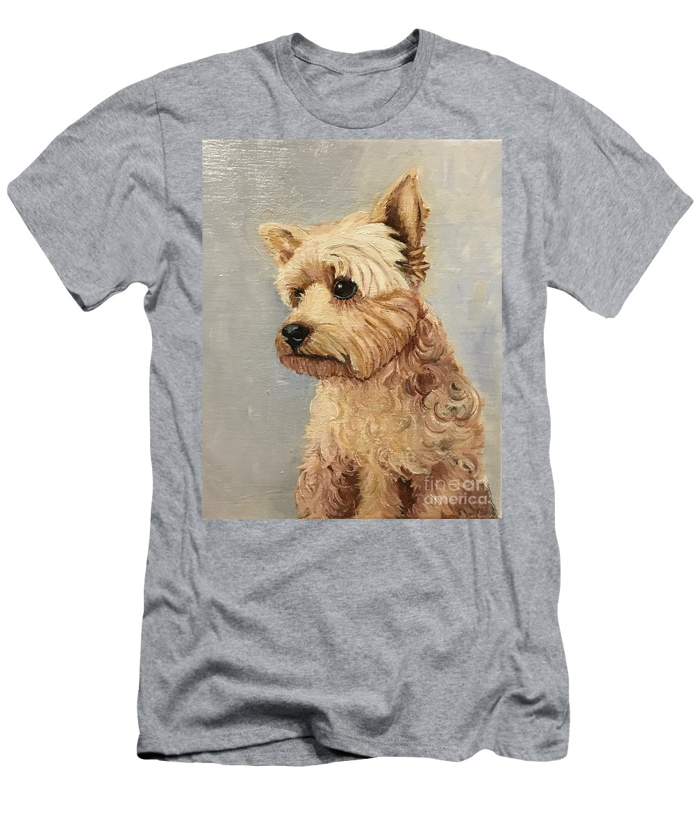 Yorkshire Terrier Men's T-Shirt (Athletic Fit) featuring the painting Yorkshire Terrier by Boni Arendt