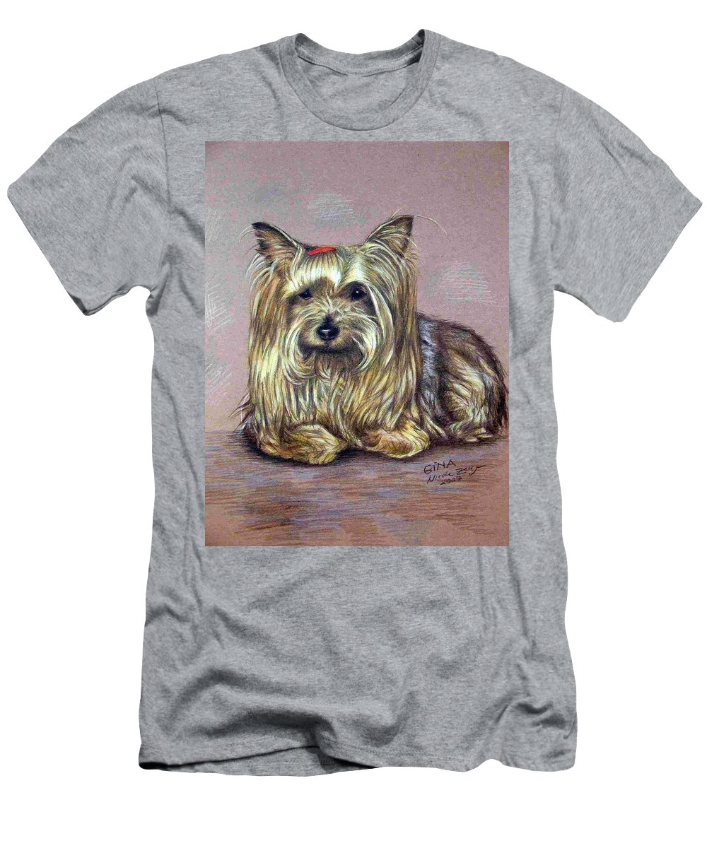 Dog Men's T-Shirt (Athletic Fit) featuring the drawing Yorkshire Terrier by Nicole Zeug
