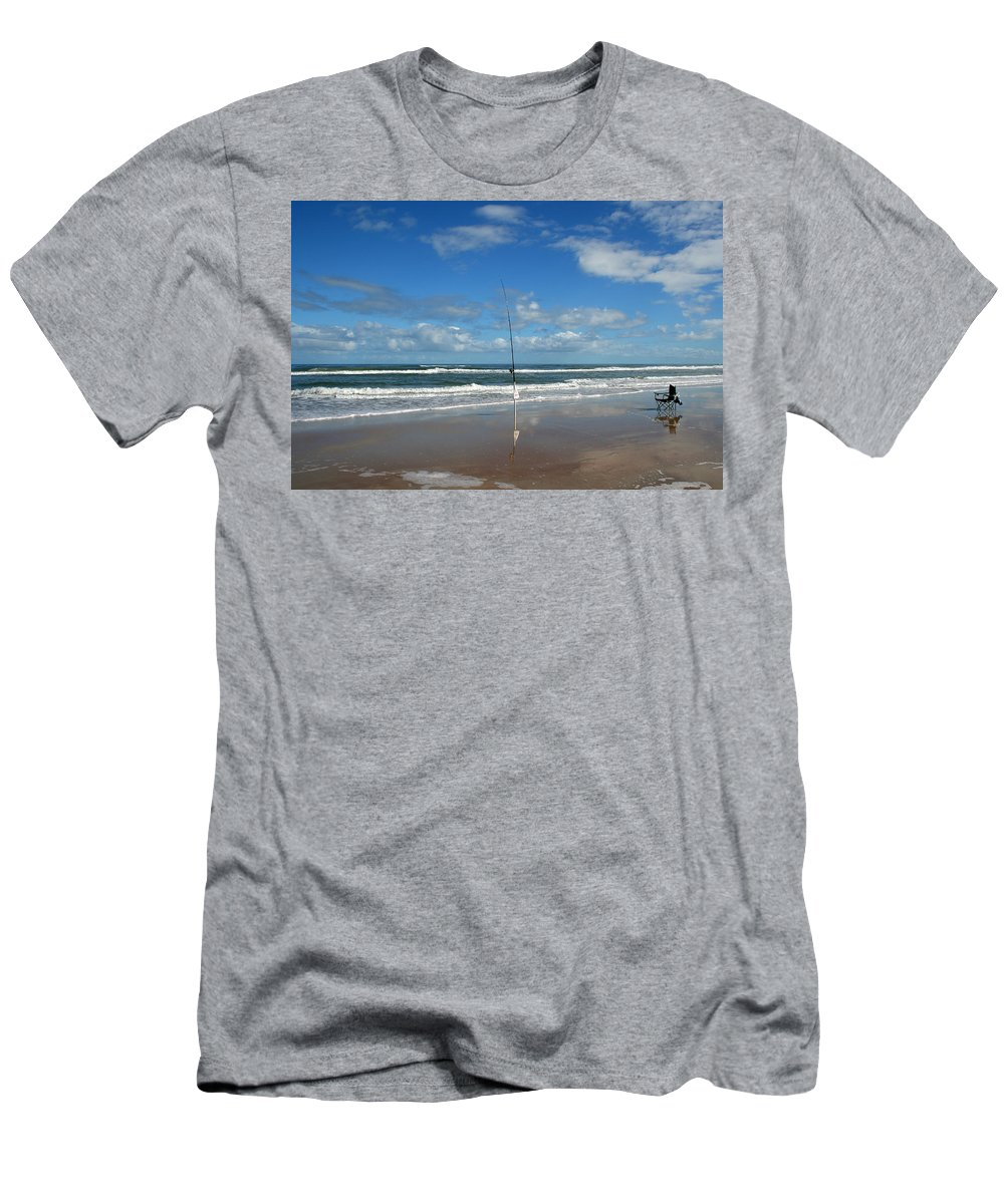 Fish Fishing Vacation Beach Surf Shore Rod Pole Chair Blue Sky Ocean Waves Wave Sun Sunny Bright Men's T-Shirt (Athletic Fit) featuring the photograph You Could Have Been There by Andrei Shliakhau