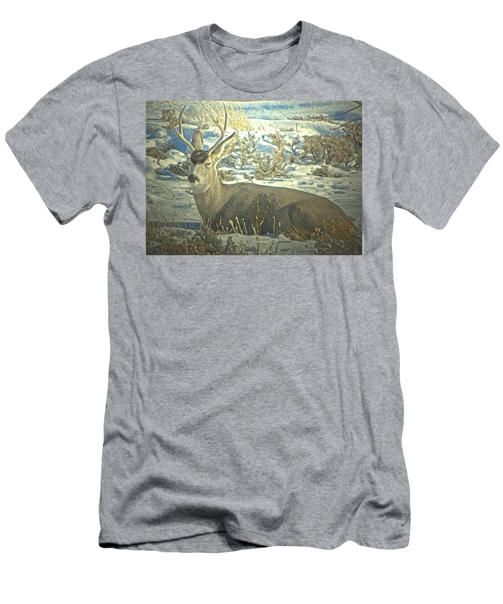 Abstract Men's T-Shirt (Athletic Fit) featuring the photograph Young Buck Resting by Lenore Senior