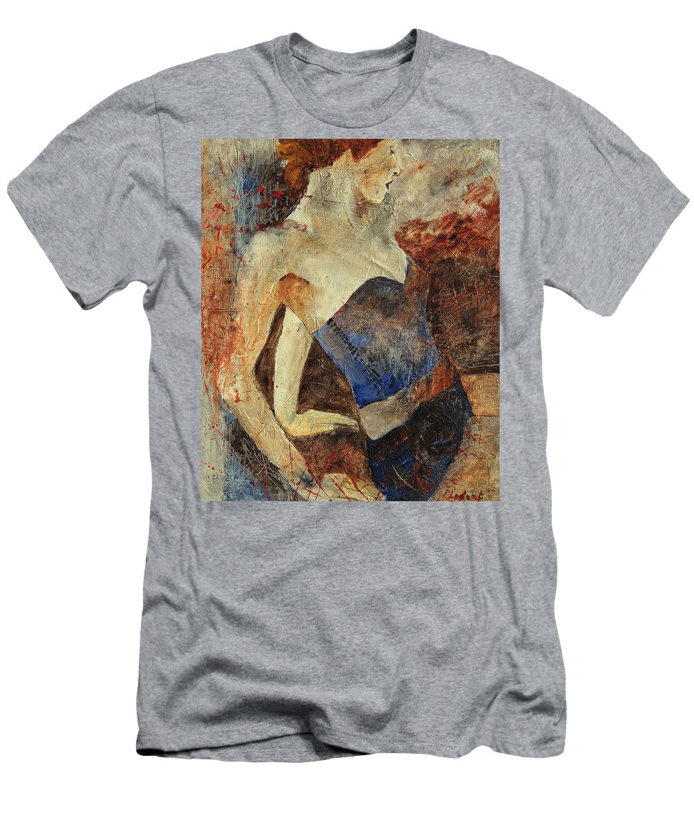 Girl Men's T-Shirt (Athletic Fit) featuring the painting Young Girl 56901247 by Pol Ledent