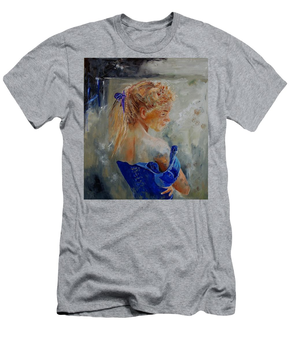 Gir Men's T-Shirt (Athletic Fit) featuring the painting Young Girl 78 by Pol Ledent