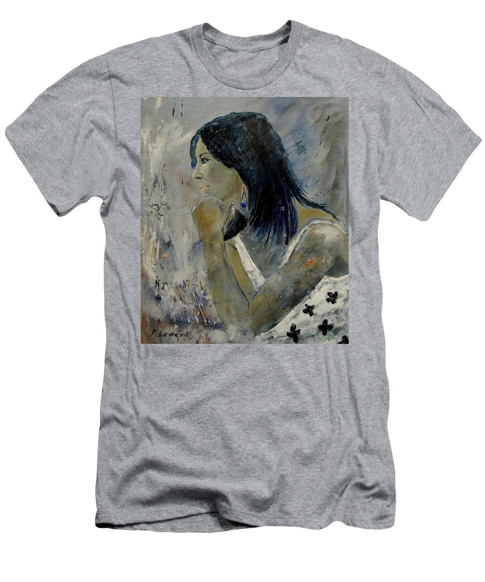 Girl Men's T-Shirt (Athletic Fit) featuring the painting Young Girl Eg569090 by Pol Ledent