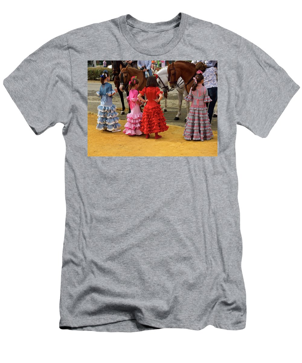 Young Men's T-Shirt (Athletic Fit) featuring the photograph Young Girls In Flamenco Dresses Looking At Horses At The April F by Reimar Gaertner