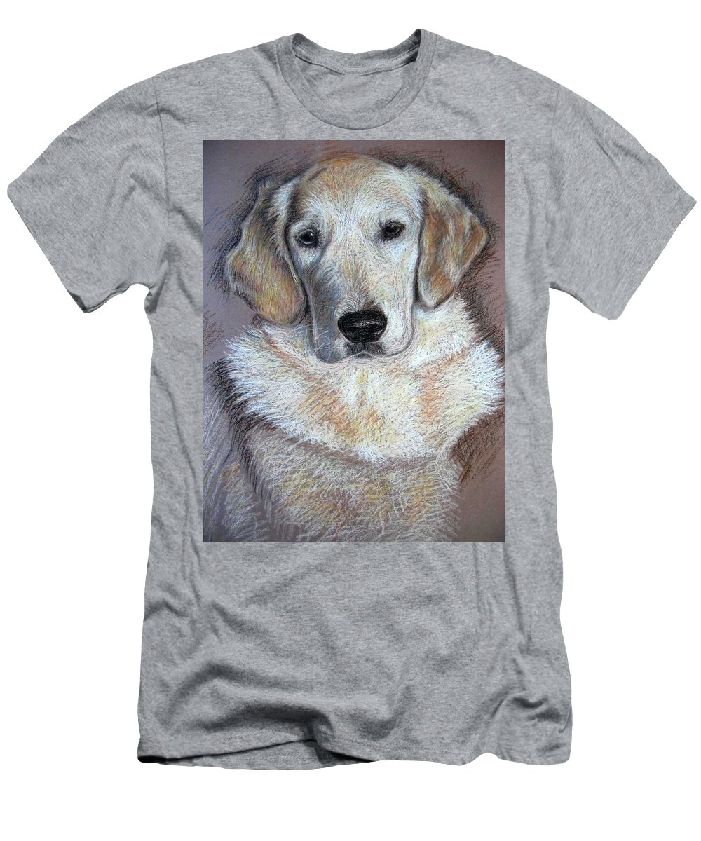 Dog Men's T-Shirt (Athletic Fit) featuring the pastel Young Golden Retriever by Nicole Zeug