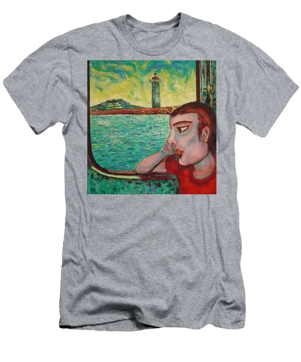 Window T-Shirt featuring the painting Young Man In A Window by Ericka Herazo