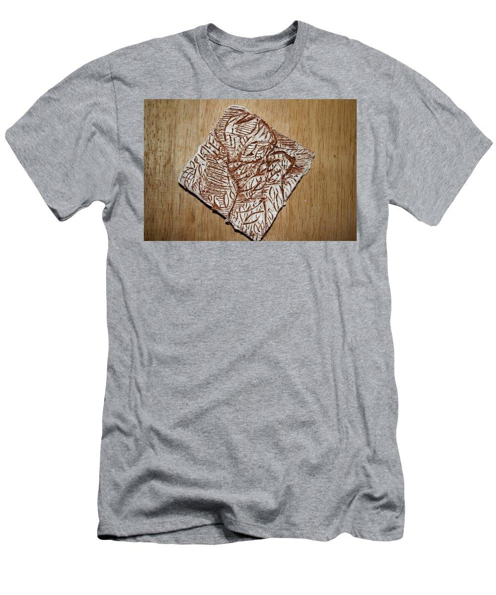 Jesus Men's T-Shirt (Athletic Fit) featuring the ceramic art Your Shape - Tile by Gloria Ssali