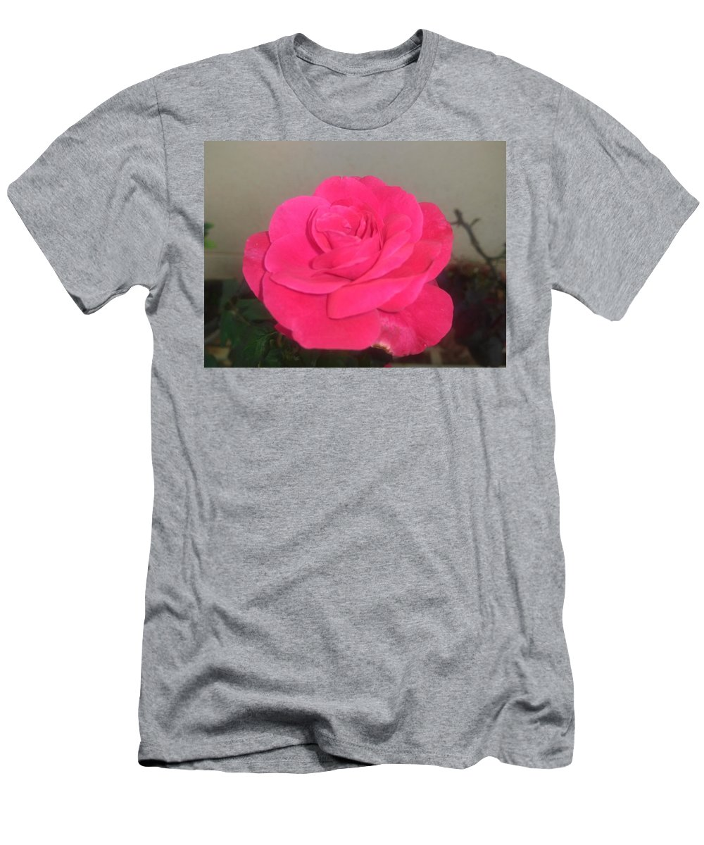 Men's T-Shirt (Athletic Fit) featuring the photograph Pink Rose by Nimu Bajaj and Seema Devjani