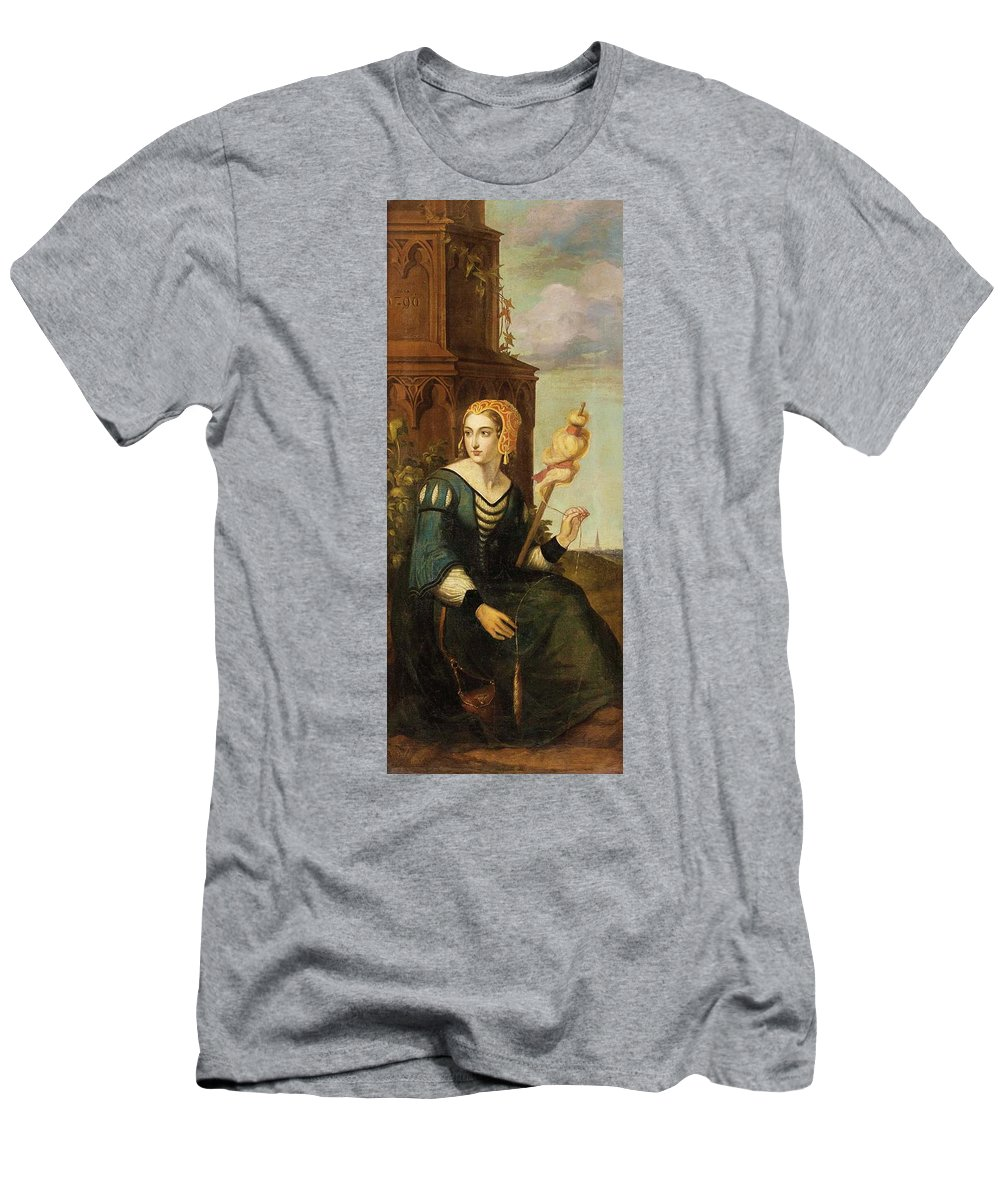 German Romantics In The 19th Century. Seated Noble Lady With Distaff Before Gothic Tower And Landscape View Men's T-Shirt (Athletic Fit) featuring the painting Seated Noble Lady With Distaff Before Gothic Tower And Landscape View by MotionAge Designs