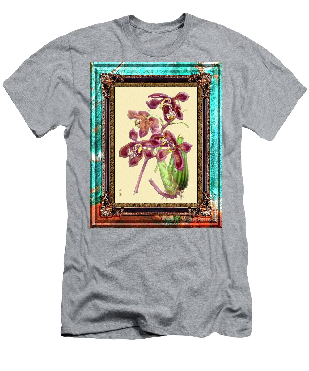 Marble Men's T-Shirt (Athletic Fit) featuring the mixed media Vintage Orchid Antique Design Marble Caribbean-blue by Baptiste Posters