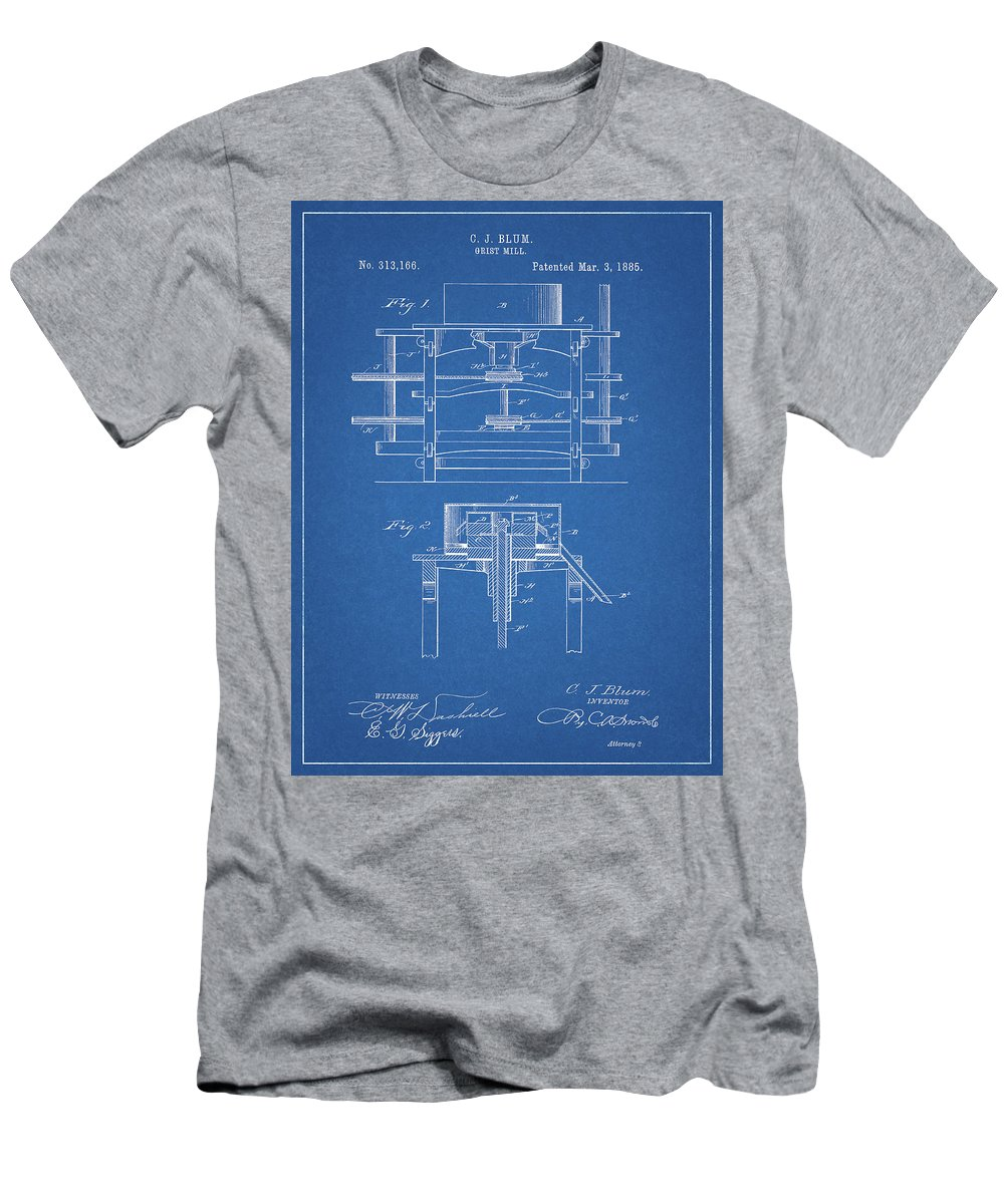 1885 Grist Mill Patent Men's T-Shirt (Athletic Fit) featuring the drawing 1885 Grist Mill Patent by Dan Sproul