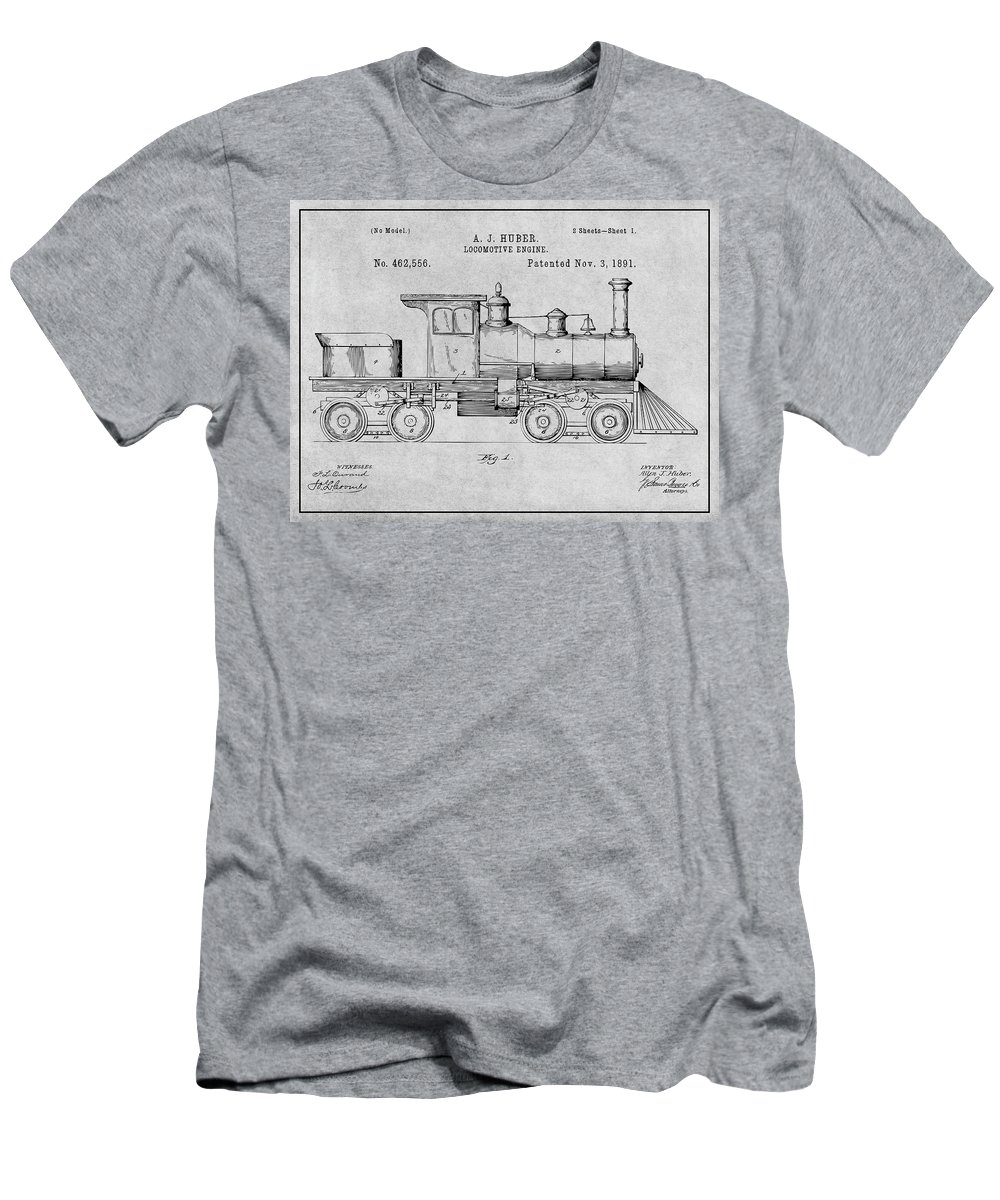 1891 Huber Locomotive Engine Patent Print Men's T-Shirt (Athletic Fit) featuring the drawing 1891 Huber Locomotive Engine Gray Patent Print by Greg Edwards