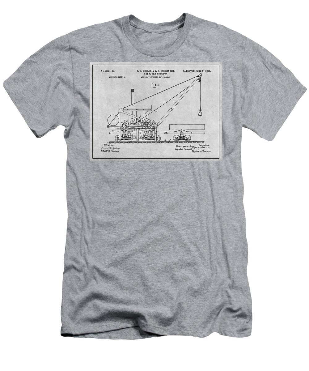 1903 Railroad Derrick Patent Print Men's T-Shirt (Athletic Fit) featuring the drawing 1903 Railroad Derrick Gray Patent Print by Greg Edwards