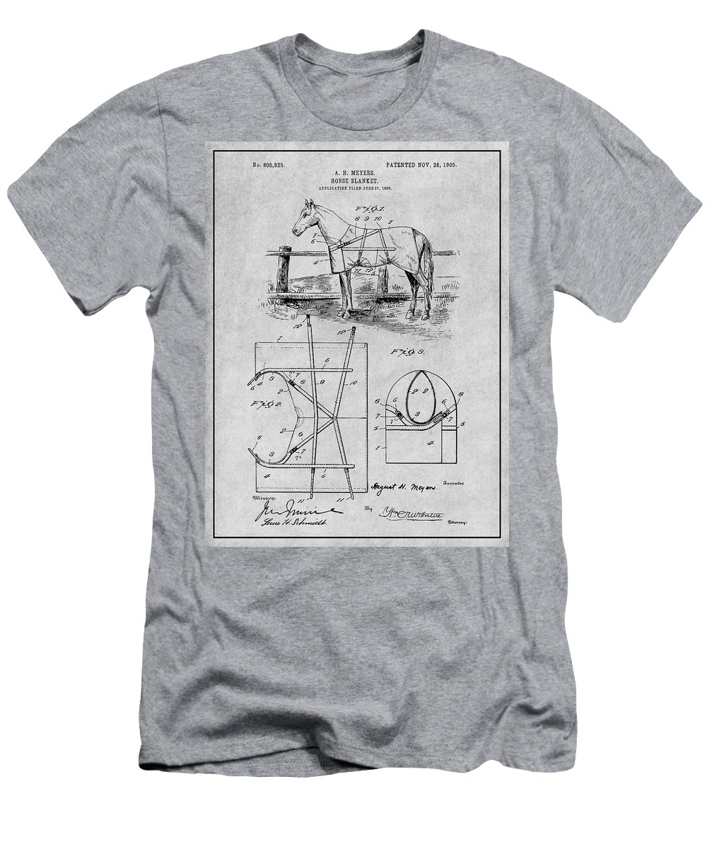 Art & Collectibles Men's T-Shirt (Athletic Fit) featuring the drawing 1905 Horse Blanket Patent Print Gray by Greg Edwards