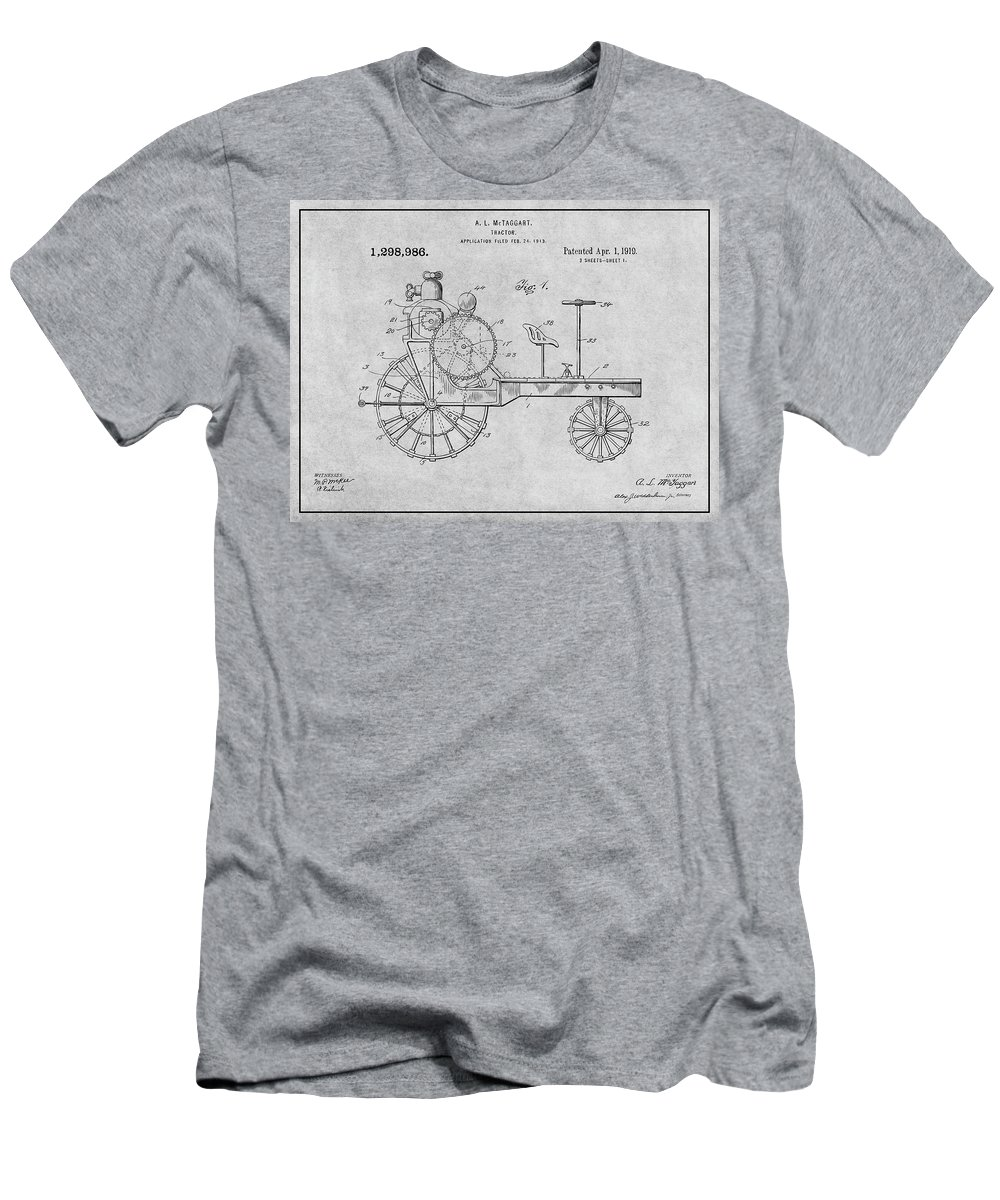 1919 Antique Tractor Patent Print Men's T-Shirt (Athletic Fit) featuring the drawing 1919 Antique Tractor Gray Patent Print by Greg Edwards
