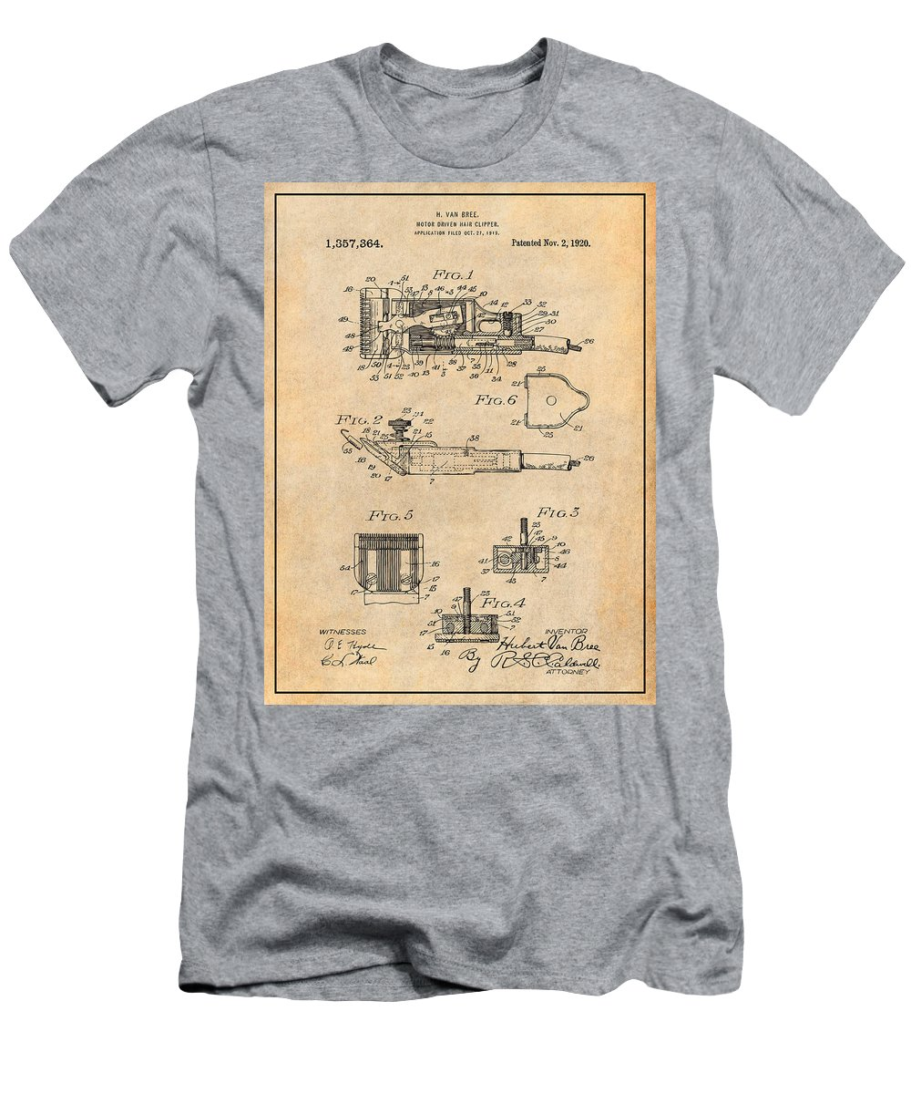 1919 Motor Driven Hair Clipper Patent Print Men's T-Shirt (Athletic Fit) featuring the drawing 1919 Motor Driven Hair Clipper Antique Paper Patent Print by Greg Edwards