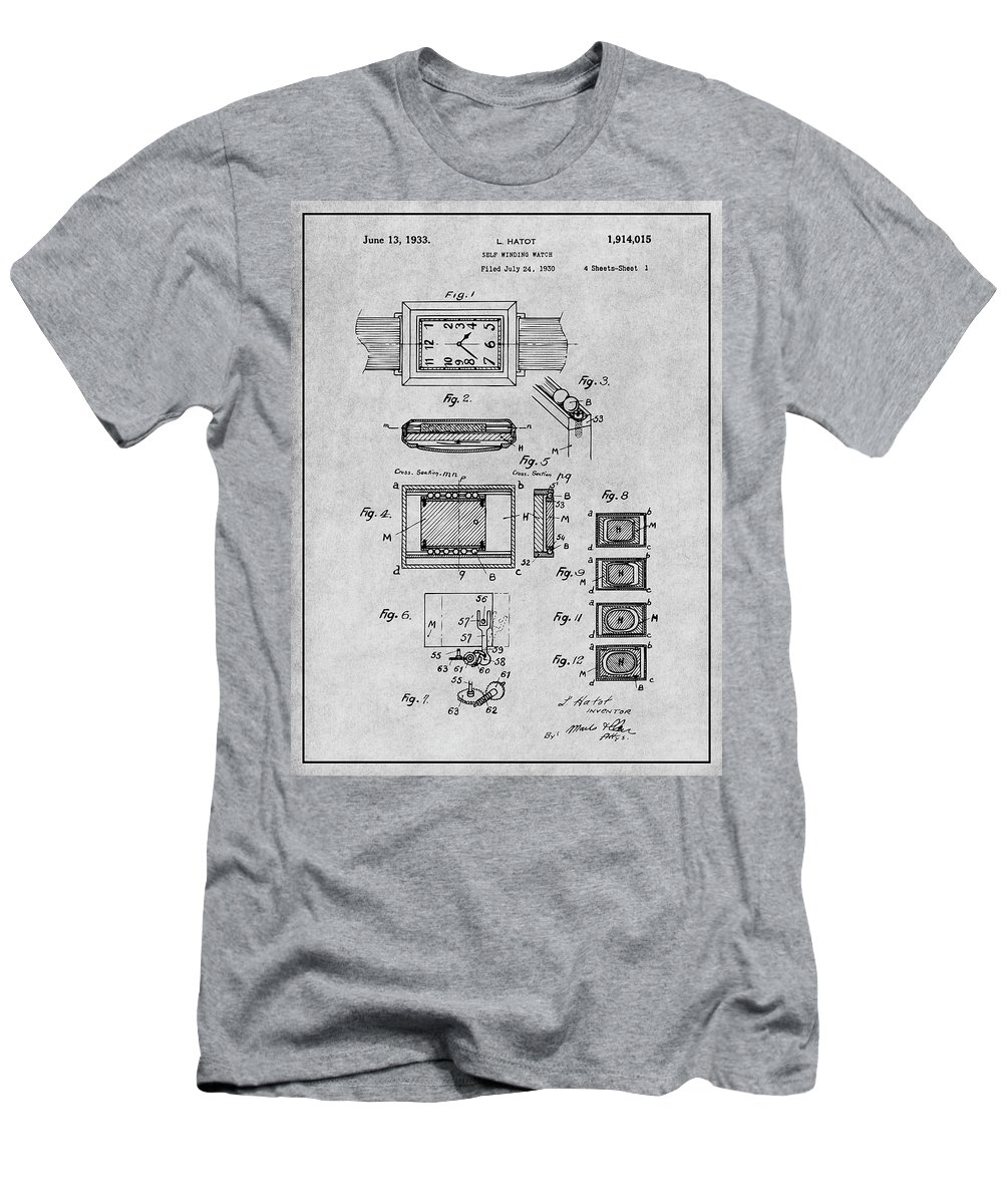 Art & Collectibles Men's T-Shirt (Athletic Fit) featuring the drawing 1930 Leon Hatot Self Winding Watch Patent Print Gray by Greg Edwards