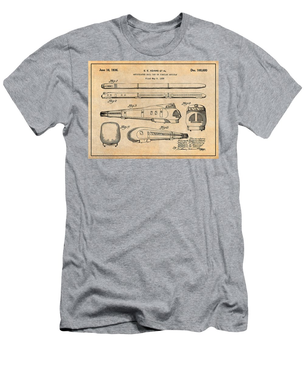 1935 Union Pacific M-10000 Railroad Patent Print Men's T-Shirt (Athletic Fit) featuring the drawing 1935 Union Pacific M-10000 Railroad Antique Paper Patent Print by Greg Edwards