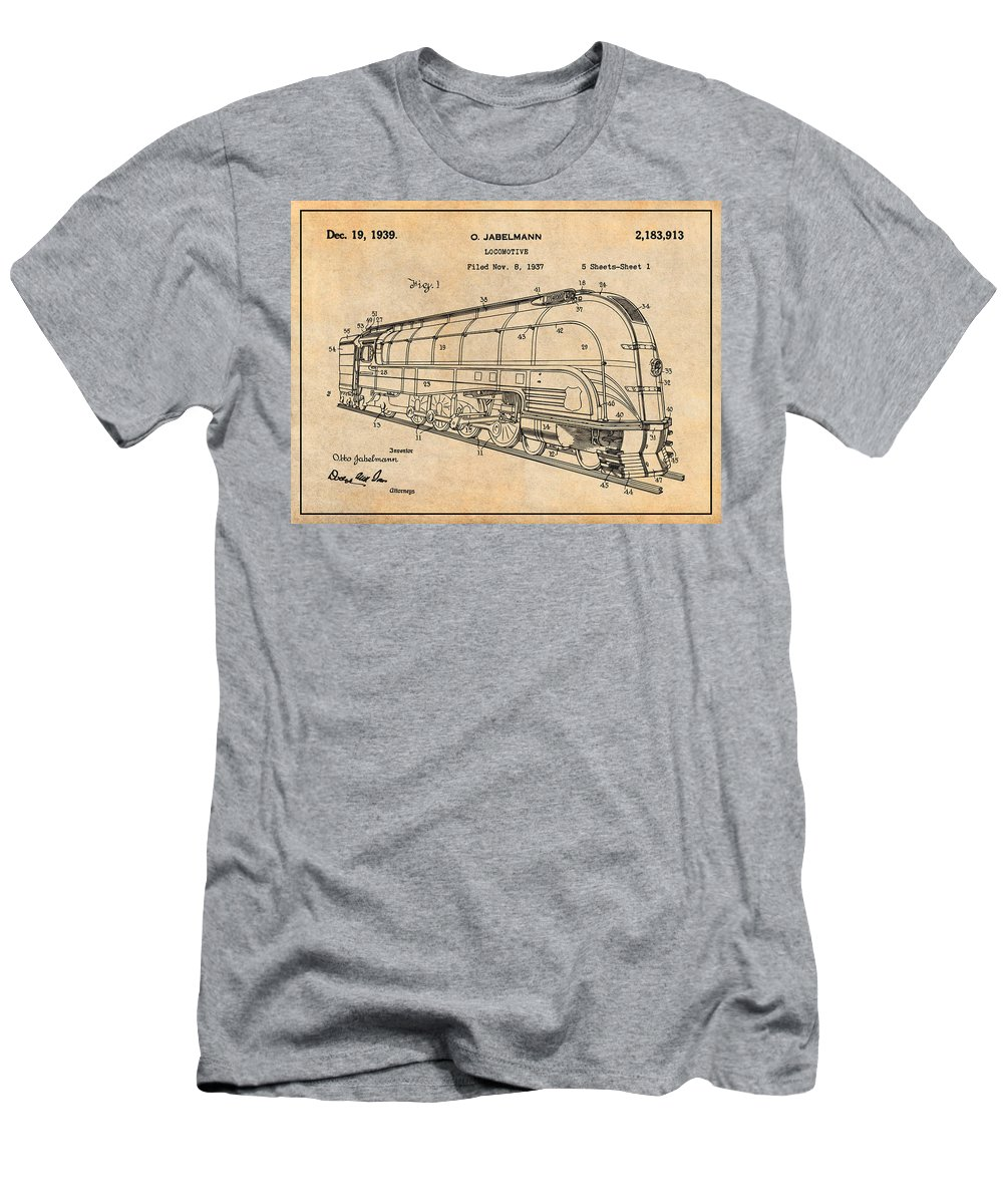 1937 Jabelmann Locomotive Patent Print Men's T-Shirt (Athletic Fit) featuring the drawing 1937 Jabelmann Locomotive Antique Paper Patent Print by Greg Edwards