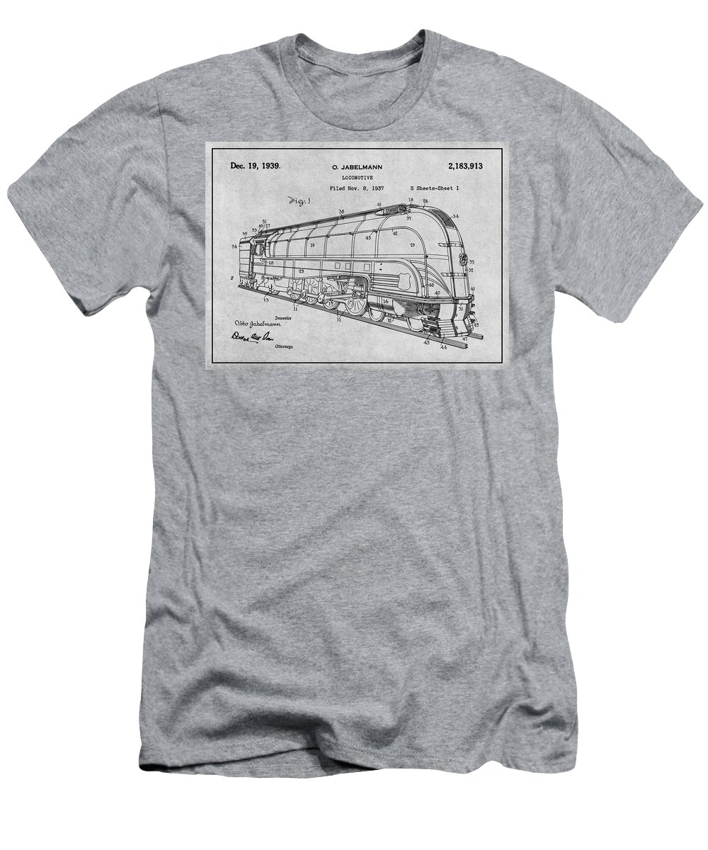 1937 Jabelmann Locomotive Patent Print Men's T-Shirt (Athletic Fit) featuring the drawing 1937 Jabelmann Locomotive Gray Patent Print by Greg Edwards