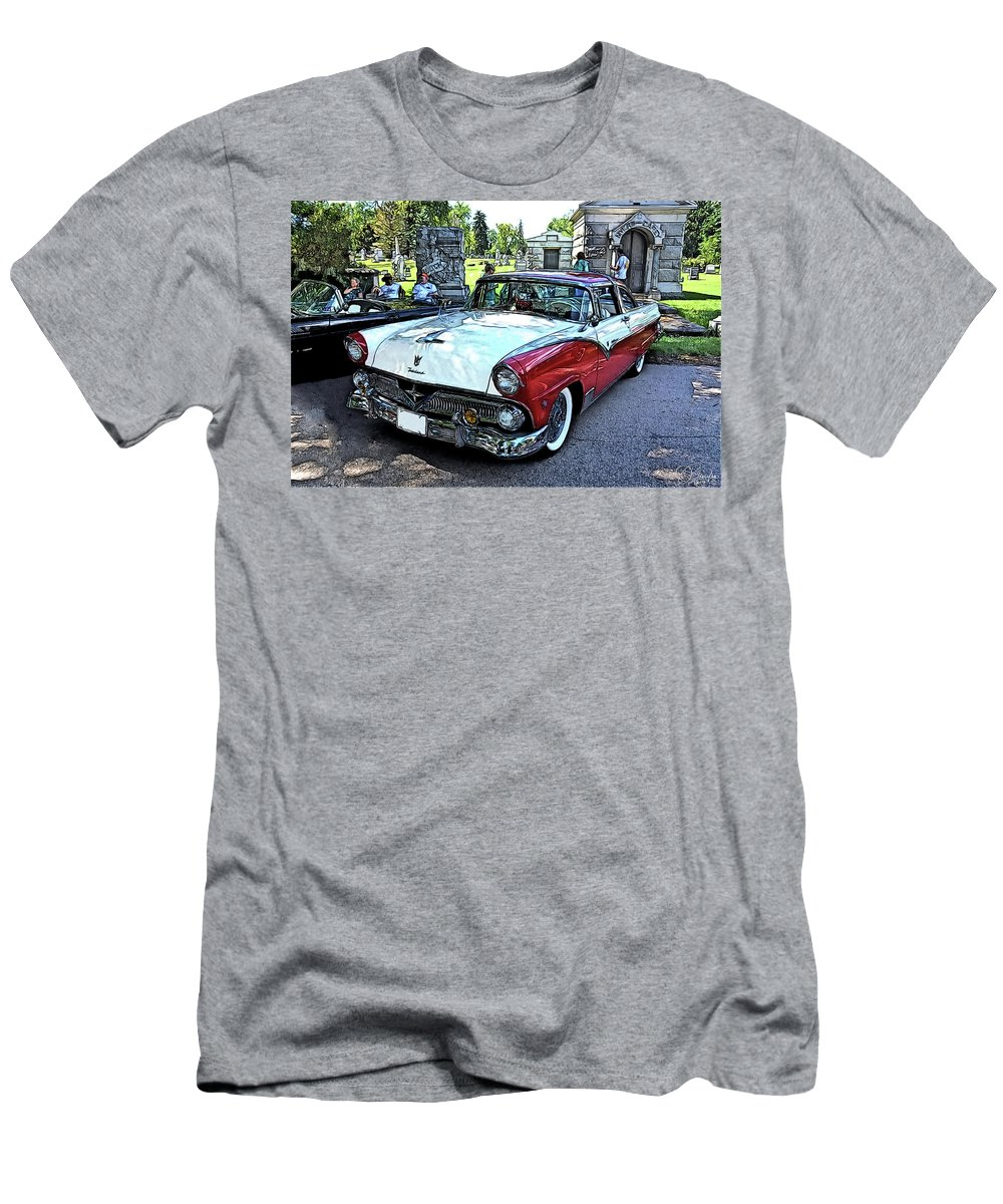 1955 Ford Fairlane Show Vintage Auto Automobile T-Shirt featuring the drawing 1955 Ford Fairlane At Show by Jonathan Broyles