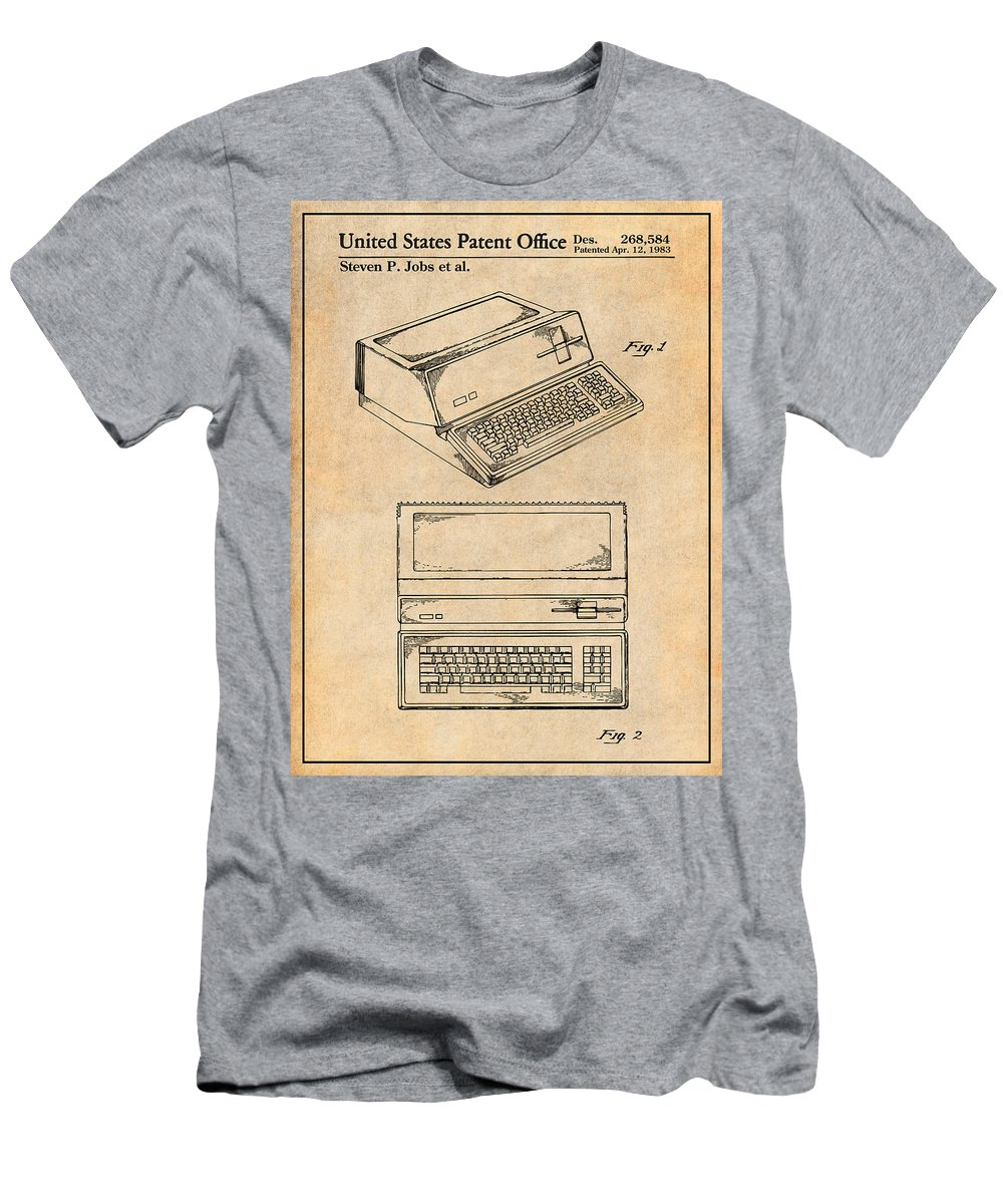 1983 Steve Jobs Apple Personal Computer Patent Print Men's T-Shirt (Athletic Fit) featuring the drawing 1983 Steve Jobs Apple Personal Computer Antique Paper Patent Print by Greg Edwards
