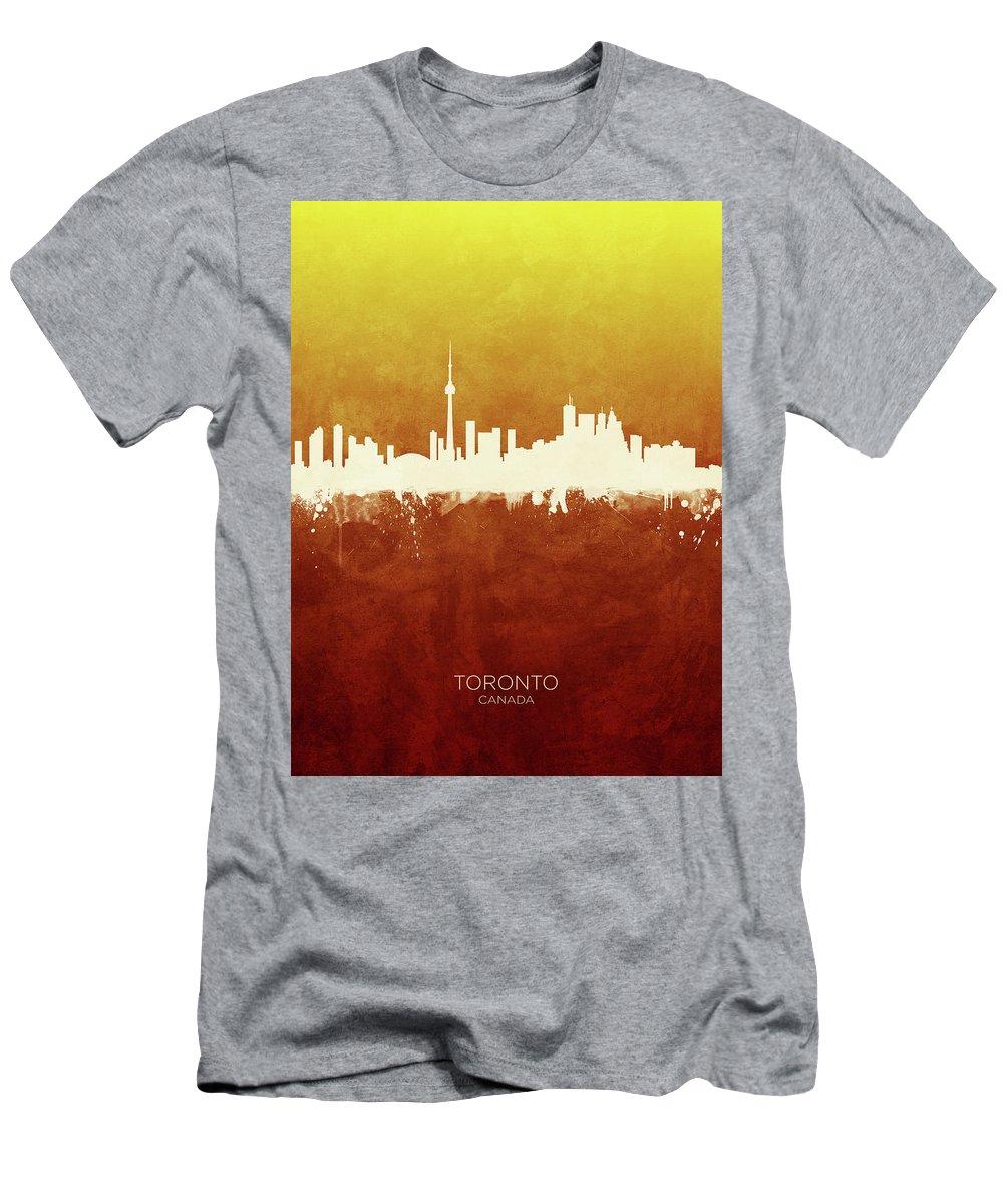 Toronto T-Shirt featuring the digital art Toronto Canada Skyline by Michael Tompsett
