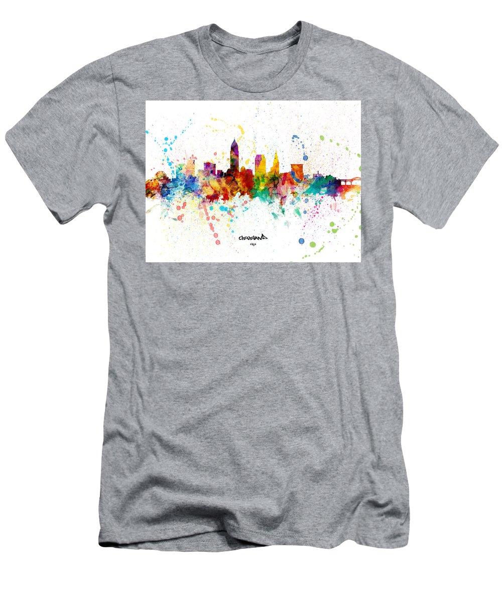 Cleveland T-Shirt featuring the digital art Cleveland Ohio Skyline by Michael Tompsett