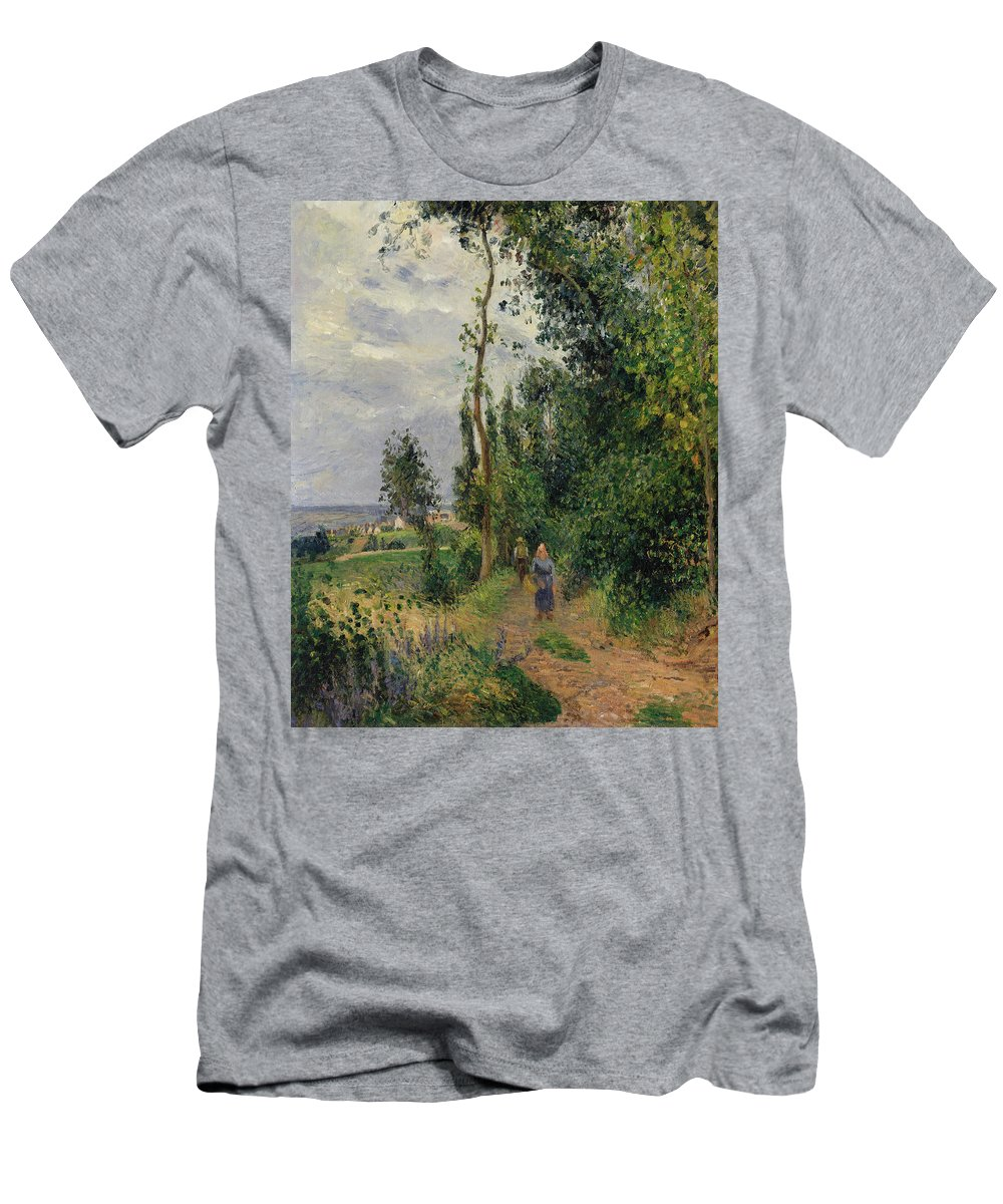 Camille Pissarro Men's T-Shirt (Athletic Fit) featuring the painting Cote Des Grouettes Near Pontoise by Camille Pissarro