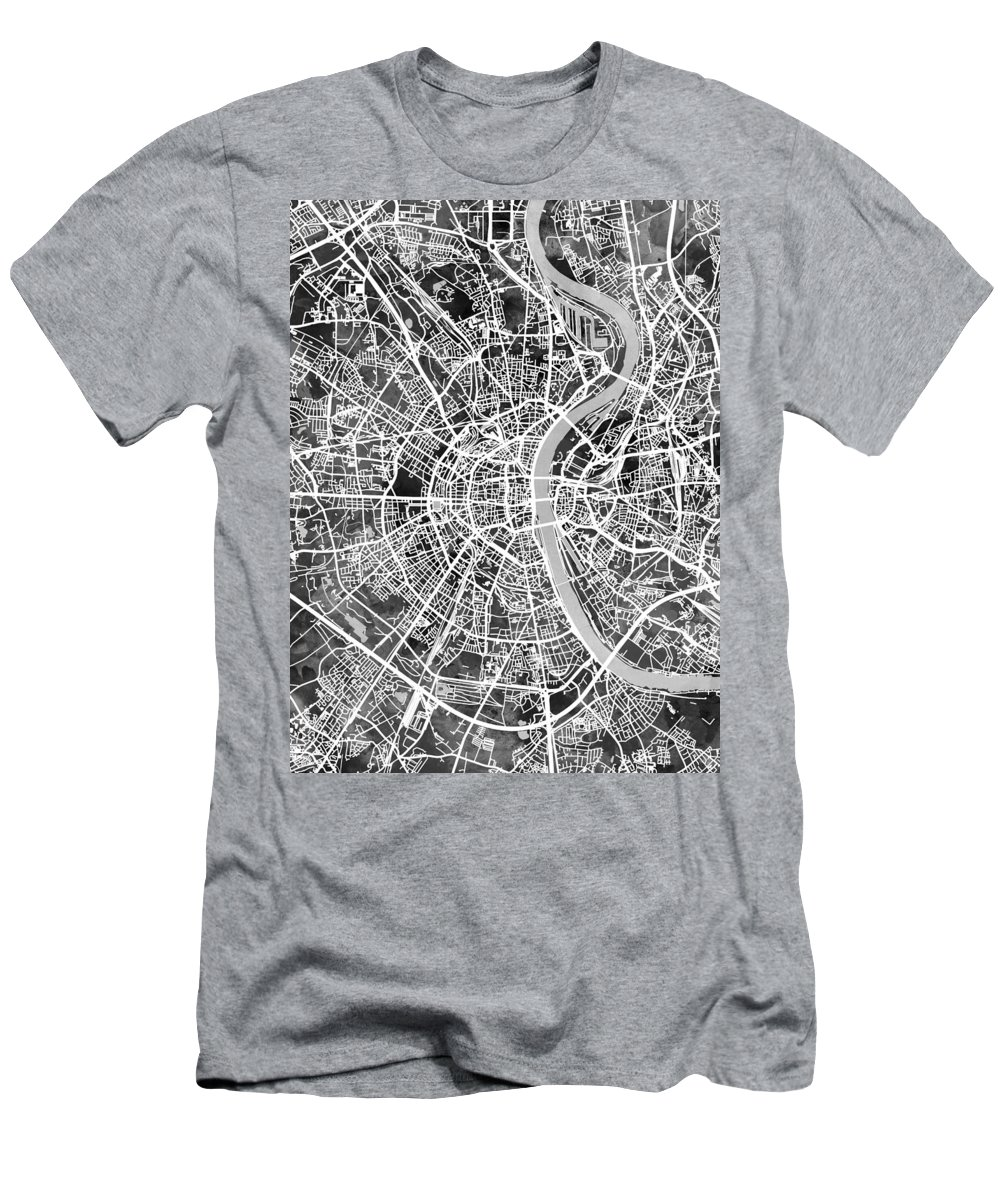 Cologne Men's T-Shirt (Athletic Fit) featuring the digital art Cologne Germany City Map by Michael Tompsett
