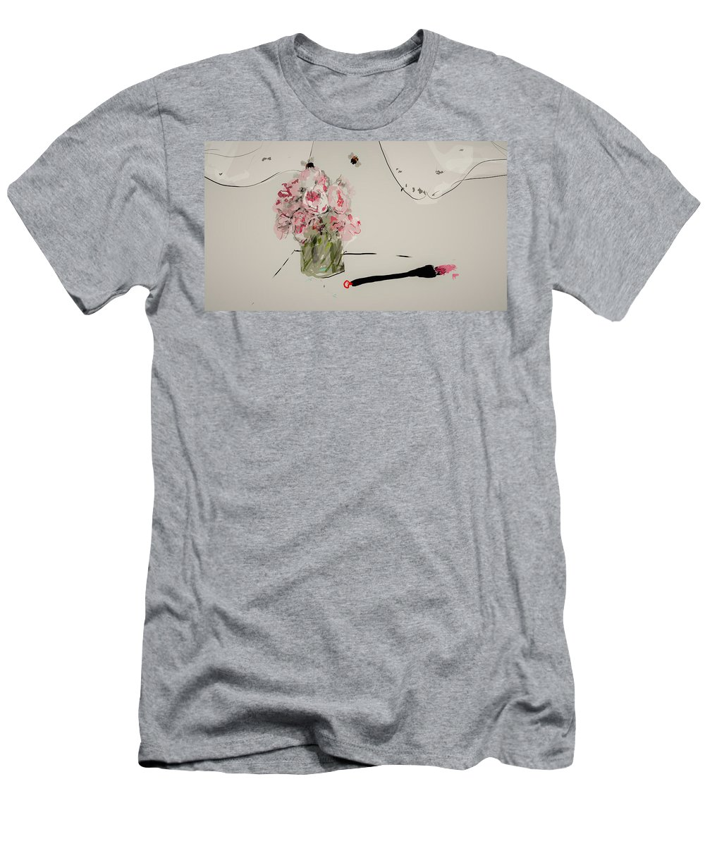 Flowers. Bouquet. Peony. Window Men's T-Shirt (Athletic Fit) featuring the digital art A Bouquet For Patricia by Debbi Saccomanno Chan