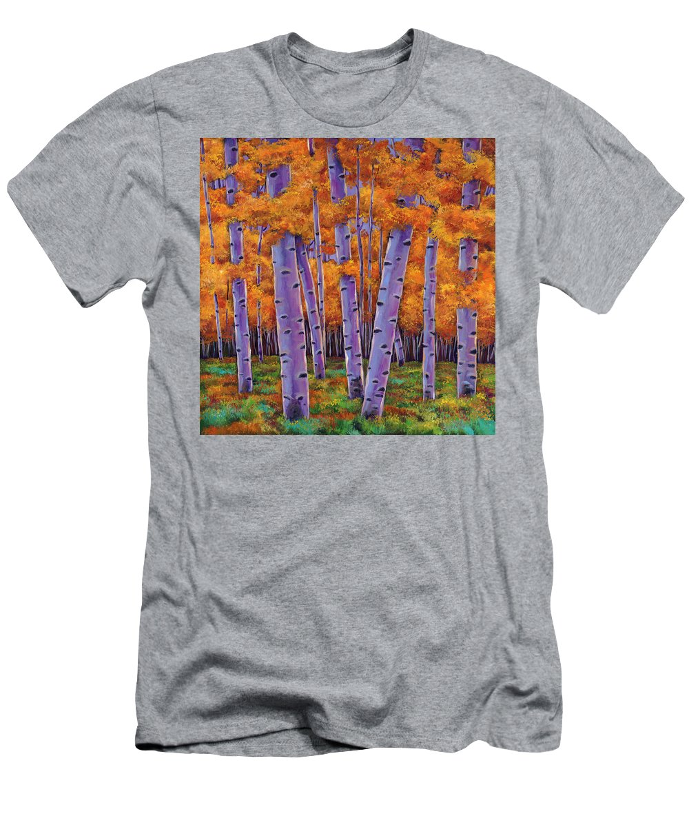 Aspen Trees Men's T-Shirt (Athletic Fit) featuring the painting A Chance Encounter by Johnathan Harris