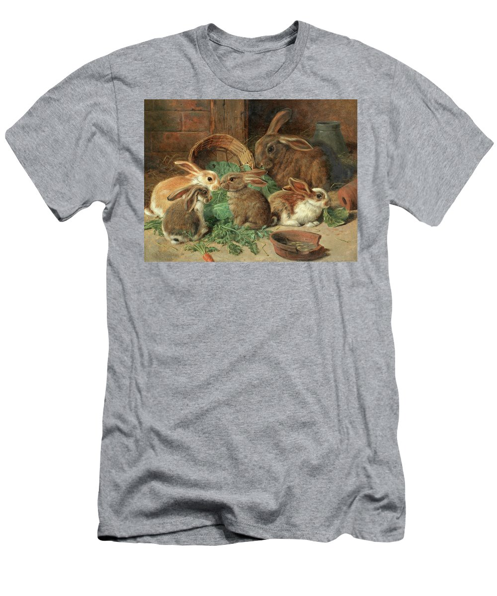 Mother Rabbit T-Shirt featuring the painting A Mother Rabbit And Her Young by Alfred Richardson Barber