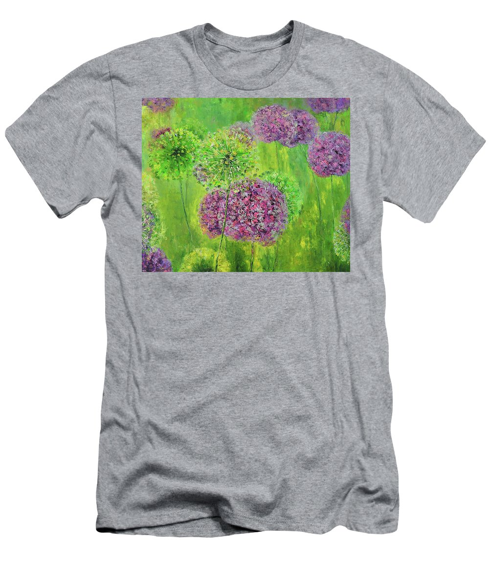 Pink Men's T-Shirt (Athletic Fit) featuring the painting Alium by Tetiana Korol